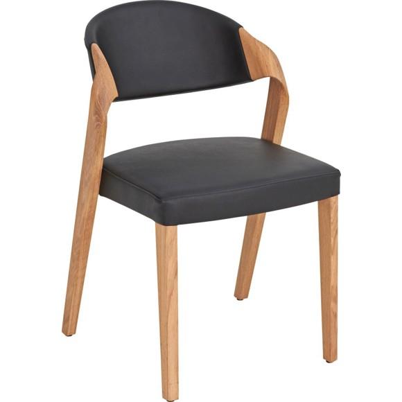 Stuhl in holz leder eichefarben schwarz st hle for Holz leder stuhl
