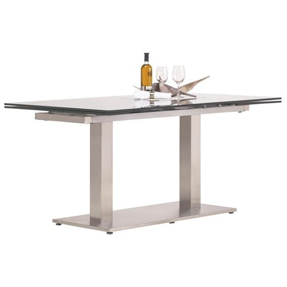 esstisch in edelstahl klarglas rechteckig esstische tische esszimmer produkte. Black Bedroom Furniture Sets. Home Design Ideas