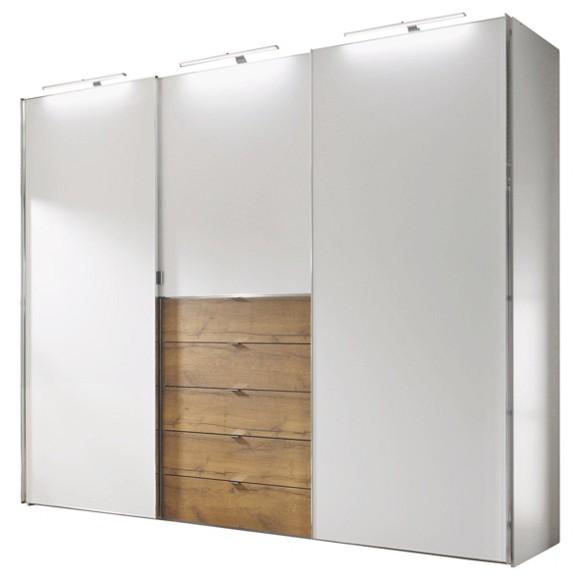 schwebet renschrank 3 t rig in eichefarben wei. Black Bedroom Furniture Sets. Home Design Ideas