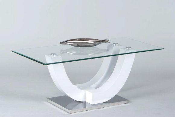 COUCHTISCH SWING in Glas, Holzwerkstoff Weiß