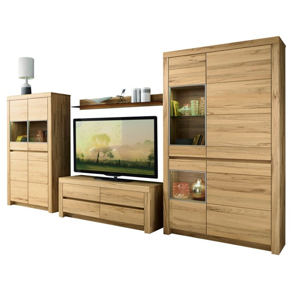 wohnwand in buchefarben anbauw nde wohnw nde wohnzimmer produkte. Black Bedroom Furniture Sets. Home Design Ideas