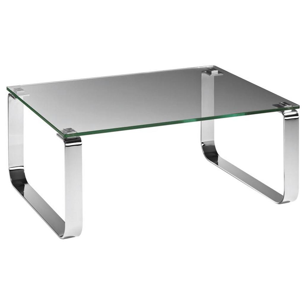 ... Couchtisch Silber 80x44x80 cm Glas Metall - B2B-Trade