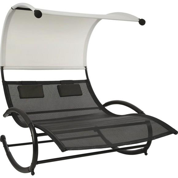 schaukelliege in stahl hellgrau schwarz gartenliegen. Black Bedroom Furniture Sets. Home Design Ideas