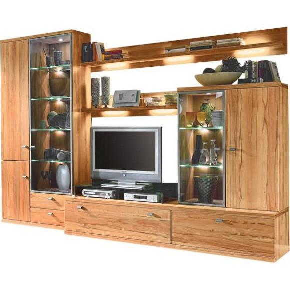 wohnwand in furniert massiv kernbuche buchefarben wohnw nde wohn esszimmer produkte. Black Bedroom Furniture Sets. Home Design Ideas