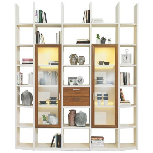 wohnwand in furniert nussbaum creme nussbaumfarben wohnw nde wohn esszimmer produkte. Black Bedroom Furniture Sets. Home Design Ideas