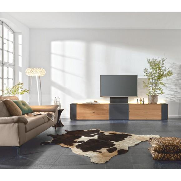 tv element in furniert wildeiche eichefarben schwarz. Black Bedroom Furniture Sets. Home Design Ideas