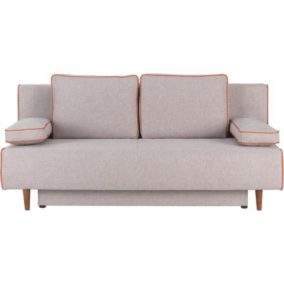schlafsofa in beige orange textil polsterm bel. Black Bedroom Furniture Sets. Home Design Ideas