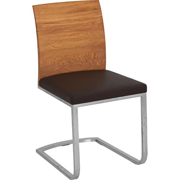schwingstuhl in holz leder metall braun eichefarben. Black Bedroom Furniture Sets. Home Design Ideas