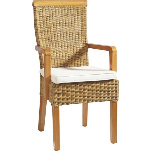 Armlehnstuhl in rattan buchefarben armlehnenst hle for Armlehnstuhl holz esszimmer
