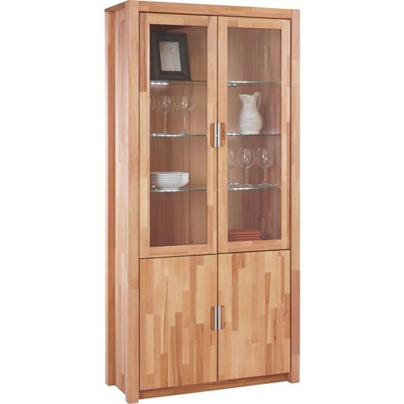 vitrine in massiv buchefarben vitrinen schr nke wohnw nde wohnzimmer produkte. Black Bedroom Furniture Sets. Home Design Ideas