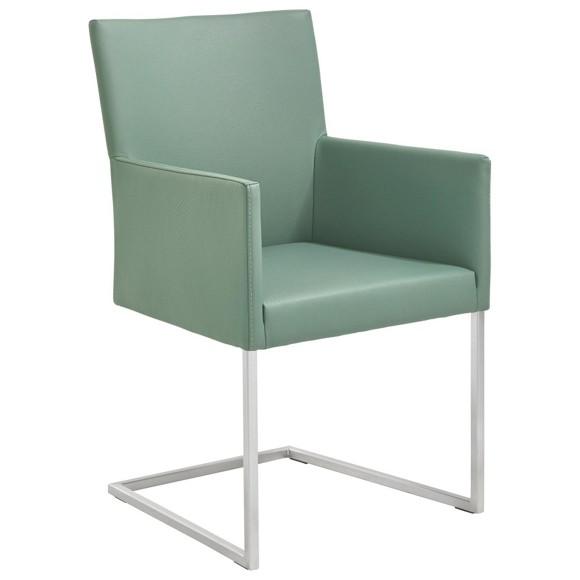 Armlehnstuhl in leder metall edelstahlfarben gr n for Esszimmer armlehnstuhl