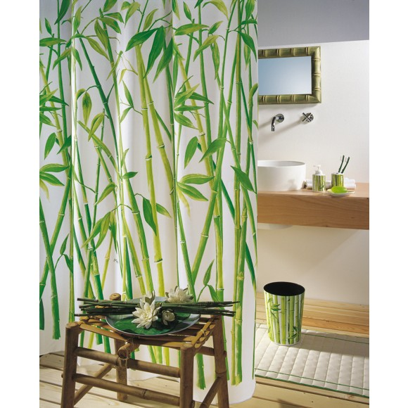duschvorhang in gr n wei duschvorh nge badtextilien heimtextilien produkte. Black Bedroom Furniture Sets. Home Design Ideas