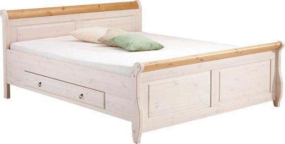 Bett Holz Weiß Gunstig : BETT in Holz Kieferfarben, Weiß  Betten  Schlafen  Produkte