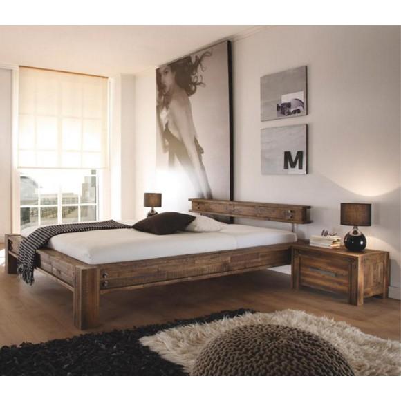 Bett in holz akaziefarben braun betten schlafen for Bett 0 90x1 90