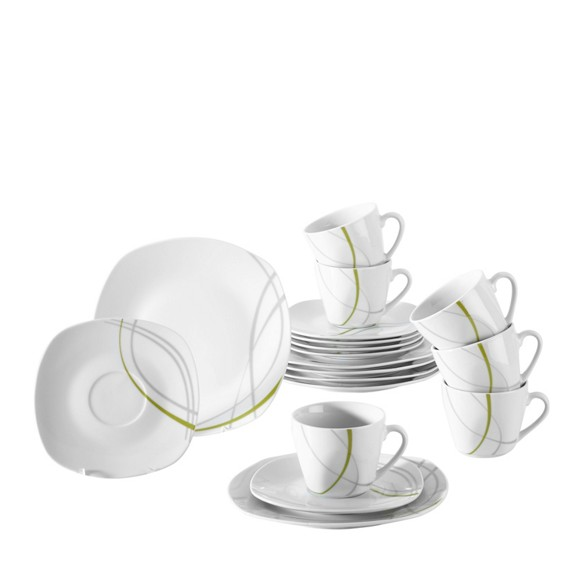 kaffeeservice porzellan 18 teilig geschirrsets geschirr bestecke k chen essen haushalt. Black Bedroom Furniture Sets. Home Design Ideas
