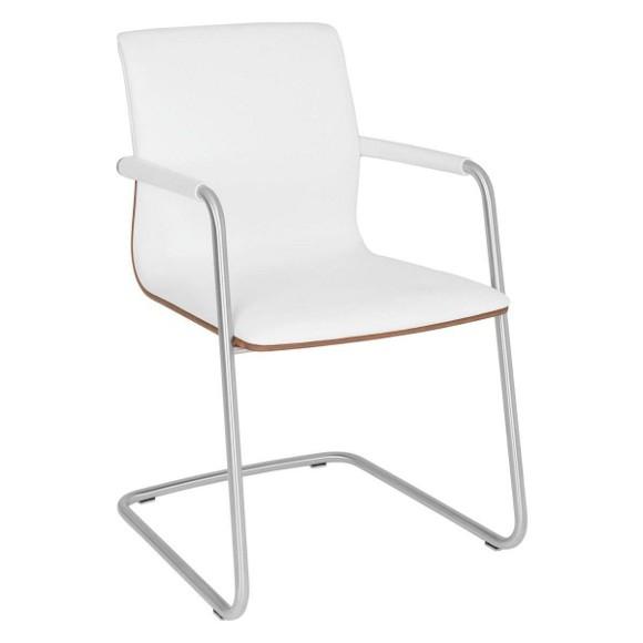schwingstuhl in holz leder metall nussbaumfarben wei. Black Bedroom Furniture Sets. Home Design Ideas