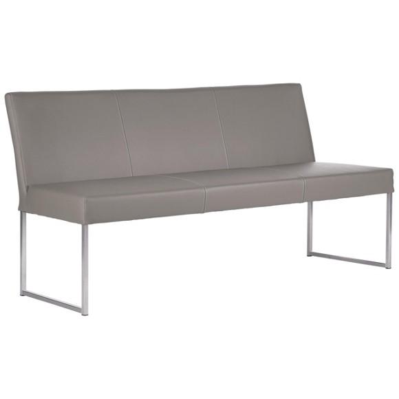 sitzbank in leder metall edelstahlfarben hellgrau. Black Bedroom Furniture Sets. Home Design Ideas