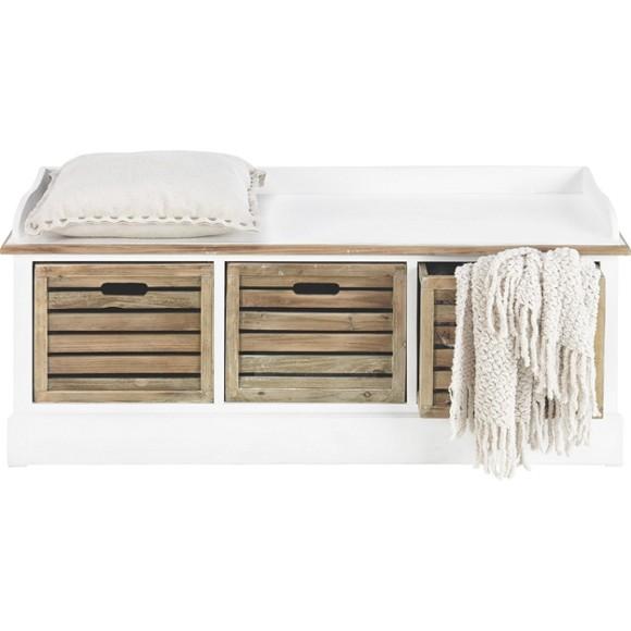 sitzbank in holz braun wei sitzb nke b nke. Black Bedroom Furniture Sets. Home Design Ideas