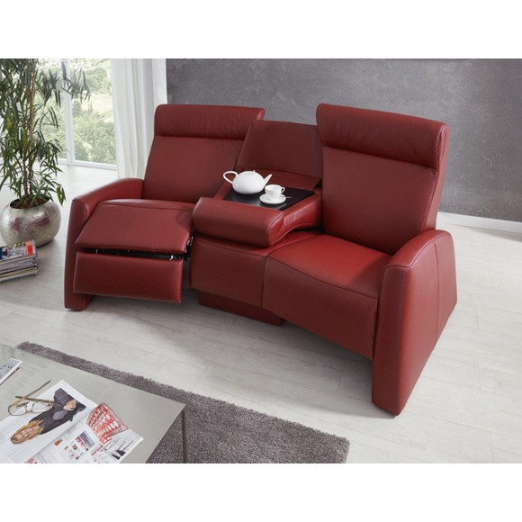 trapezsofa in rot leder sofas polsterm bel wohnzimmer produkte. Black Bedroom Furniture Sets. Home Design Ideas