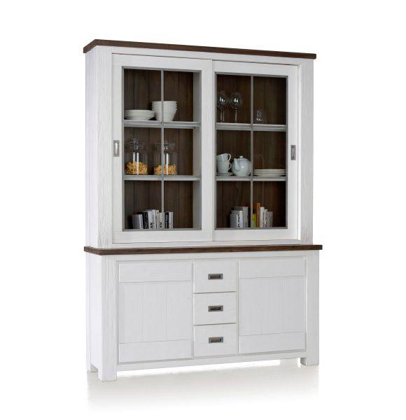 wohnzimmer vitrine grau:VITRINE in teilmassiv Grau, Weiß – Vitrinen & Schränke – Wohnwände
