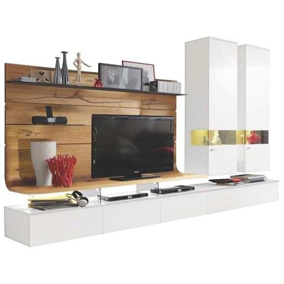 wohnwand in eichefarben wei anbauw nde wohnw nde wohnzimmer produkte. Black Bedroom Furniture Sets. Home Design Ideas