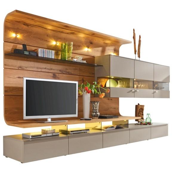 wohnwand in furniert eiche eichefarben grau wohnw nde. Black Bedroom Furniture Sets. Home Design Ideas