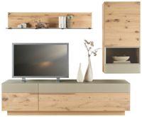 WOHNWAND in mehrschichtige Massivholzplatte (Tischlerplatte) Wildeiche Eichefarben, Schlammfarben (null, image/jpeg)