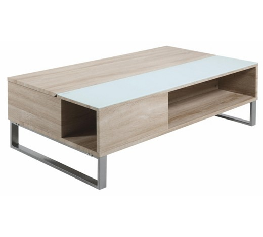 couchtisch rechteckig alufarben eichefarben wei online. Black Bedroom Furniture Sets. Home Design Ideas