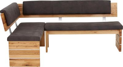 ECKBANK In Holz, Textil Anthrazit, Eichefarben   Eichefarben/Anthrazit,  MODERN, Holz