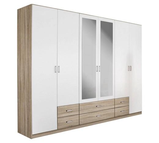 kleiderschrank 6 t rig eichefarben wei online kaufen xxxlshop. Black Bedroom Furniture Sets. Home Design Ideas