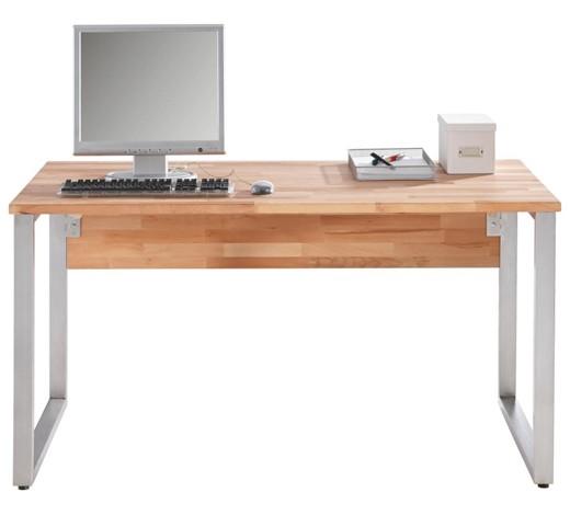 Schreibtisch kernbuche massiv buchefarben online kaufen for Schreibtisch holz modern