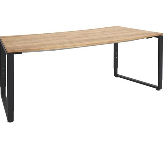 Schreibtisch eiche massiv anthrazit eichefarben grau for Schreibtisch holz modern
