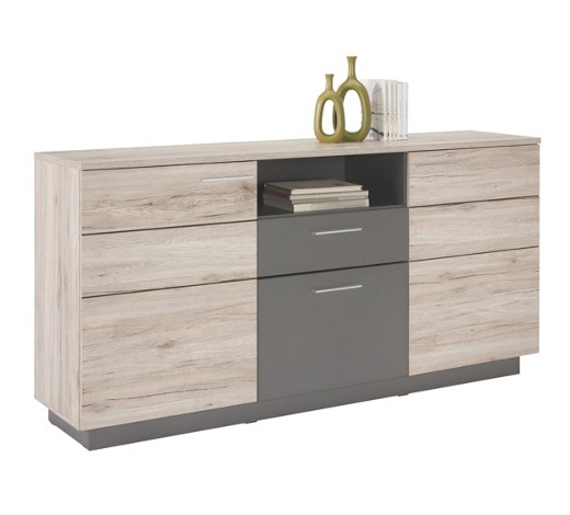 sideboard matt melamin eichefarben grau online kaufen xxxlshop. Black Bedroom Furniture Sets. Home Design Ideas