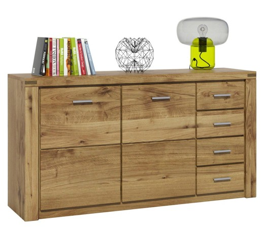 Sideboard wildeiche furniert massiv ge lt eichefarben for Sideboard wildeiche