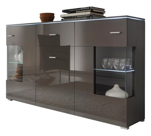 sideboard hochglanz melaminharzbeschichtet grau online. Black Bedroom Furniture Sets. Home Design Ideas