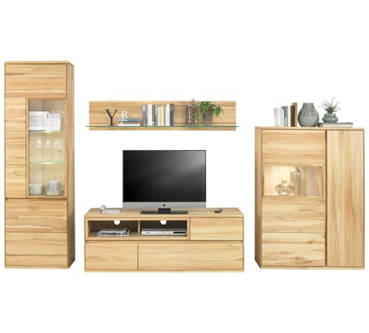 wohnwand kernbuche massiv buchefarben online kaufen xxxlshop. Black Bedroom Furniture Sets. Home Design Ideas