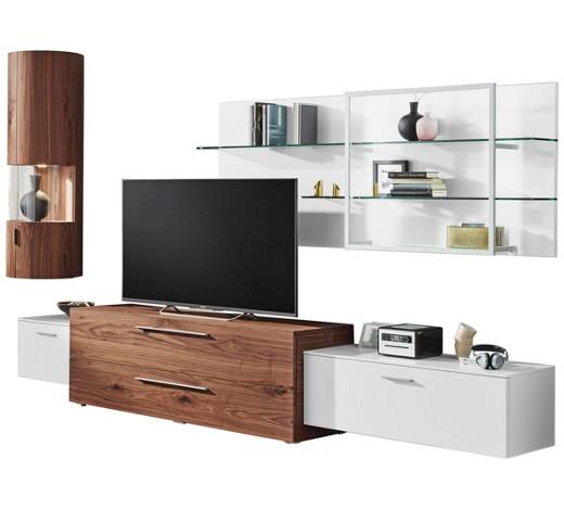 wohnwand kernnussbaum furniert nussbaumfarben wei online. Black Bedroom Furniture Sets. Home Design Ideas