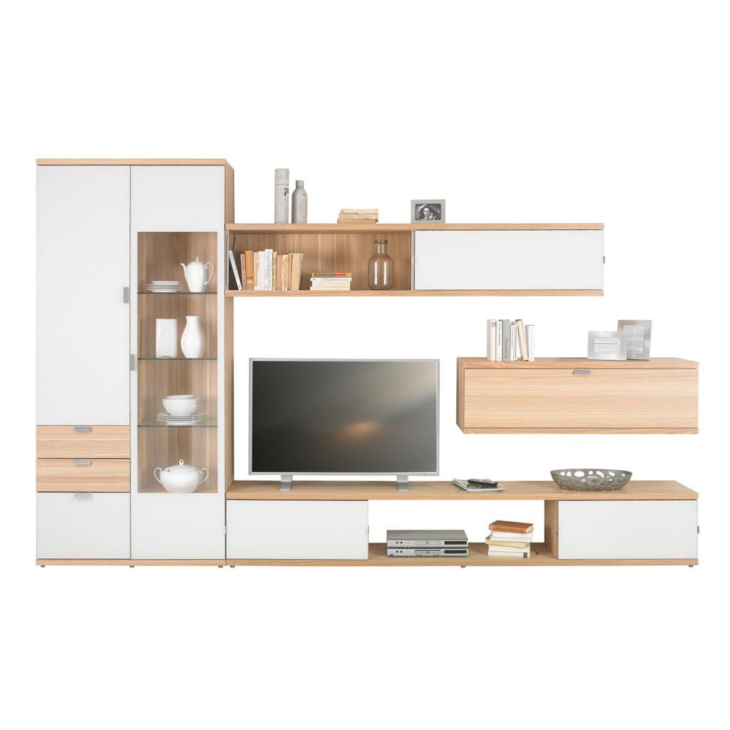 wohnwand in eschefarben wei. Black Bedroom Furniture Sets. Home Design Ideas