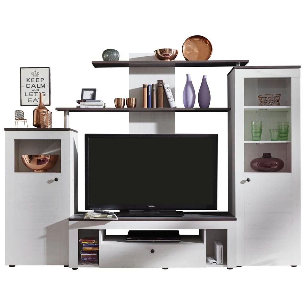 wohnwand schwarz wei preisvergleich die besten angebote. Black Bedroom Furniture Sets. Home Design Ideas