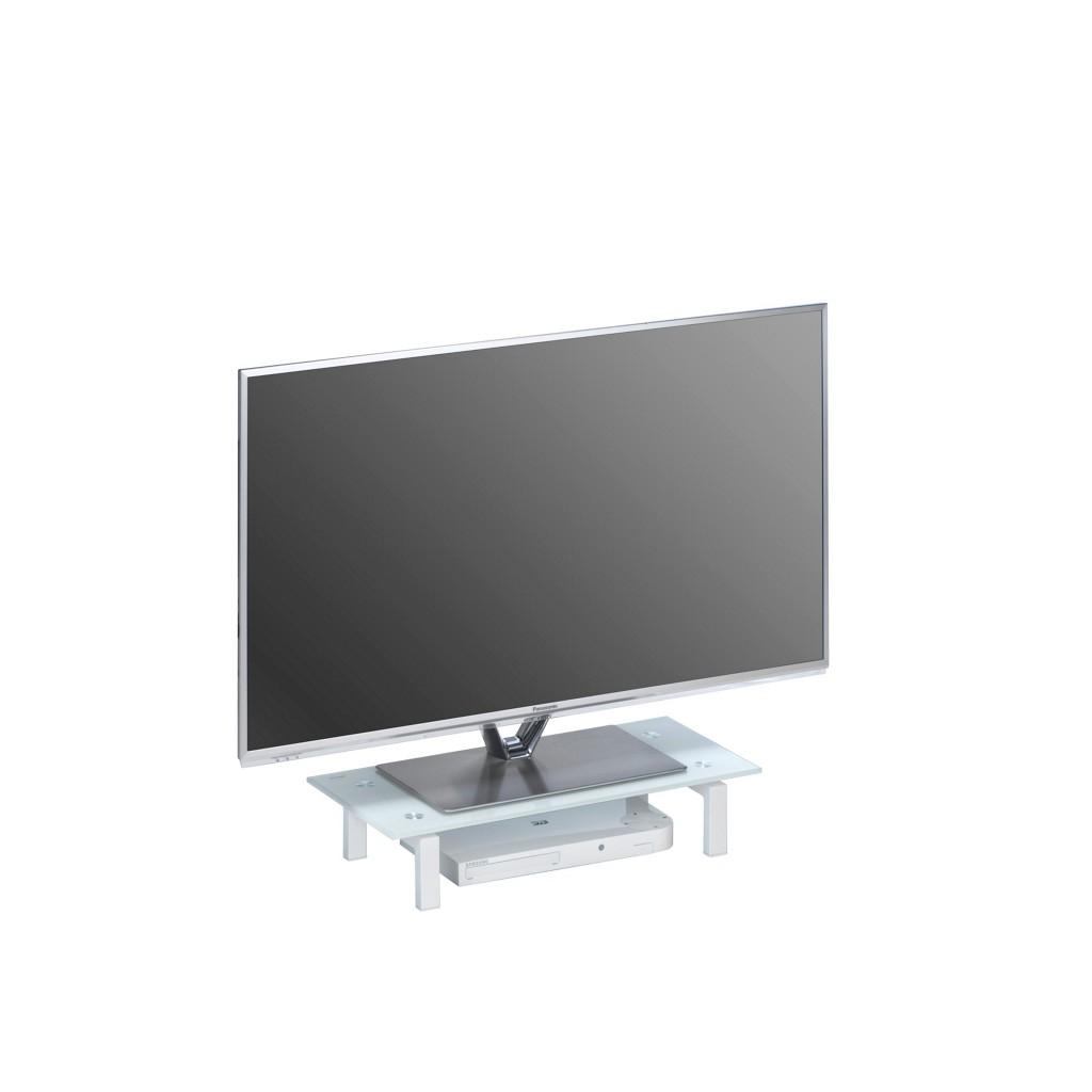 XXXL TV-AUFSATZ Glas, Metall Weiß