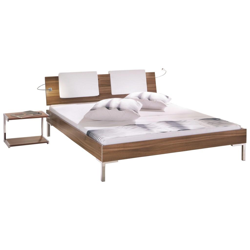 BETT 200 cm x 210 cm in Holzwerkstoff, Textil Dunkelbraun, Nussbaumfarben, Weiß