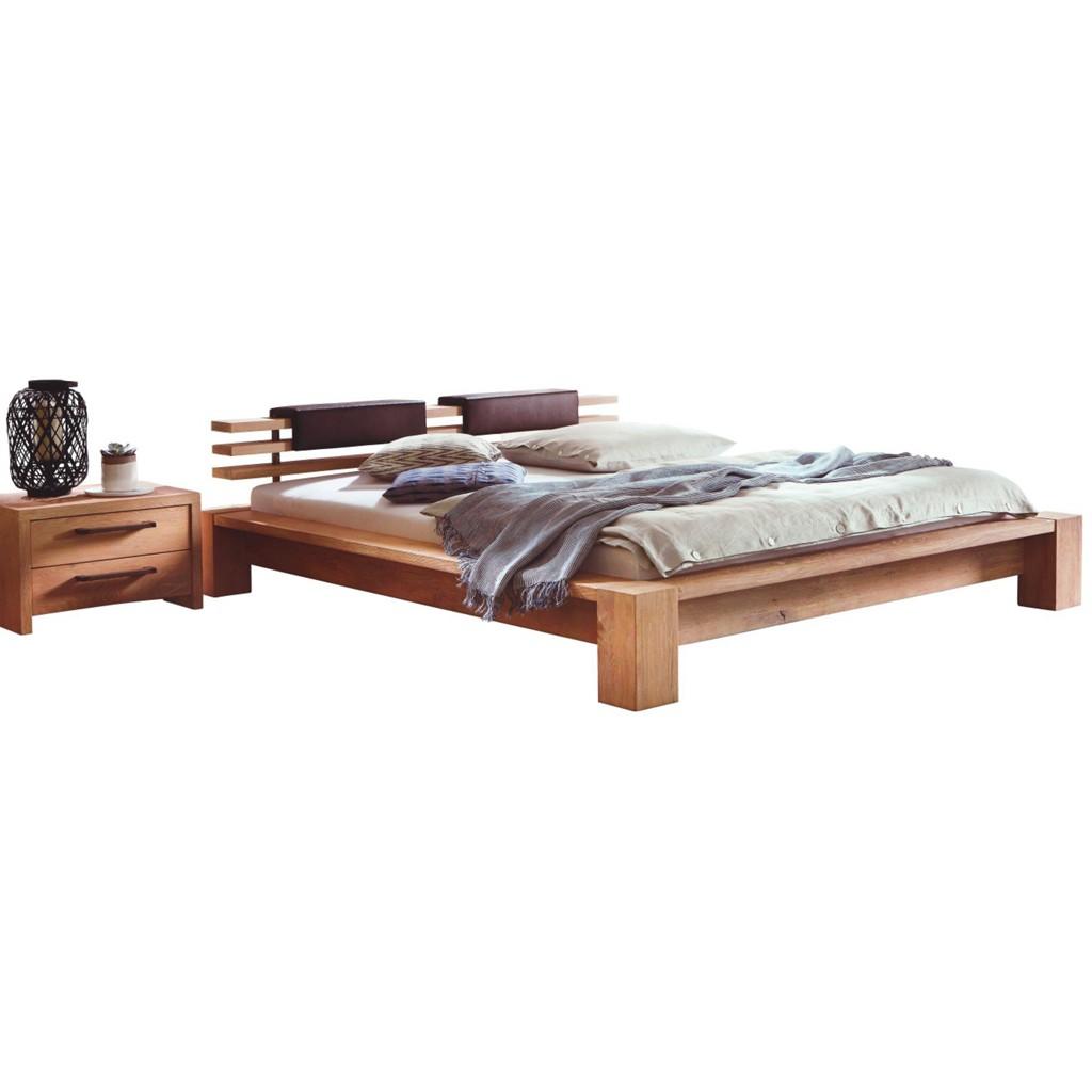 BETT 200 cm x 210 cm in Holz, Textil Dunkelbraun, Eichefarben