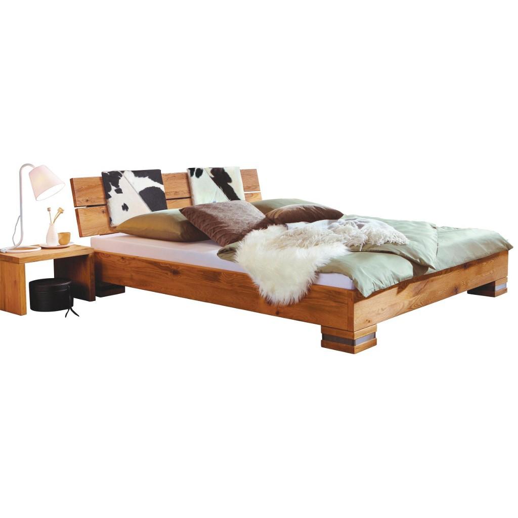 BETT 200 cm x 210 cm in Holz, Leder Eichefarben, Schwarz, Weiß