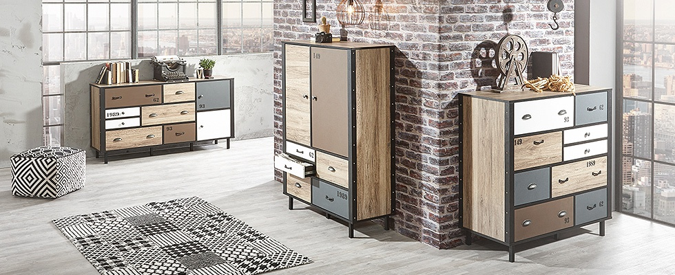 industrial style industriem bel online kaufen. Black Bedroom Furniture Sets. Home Design Ideas