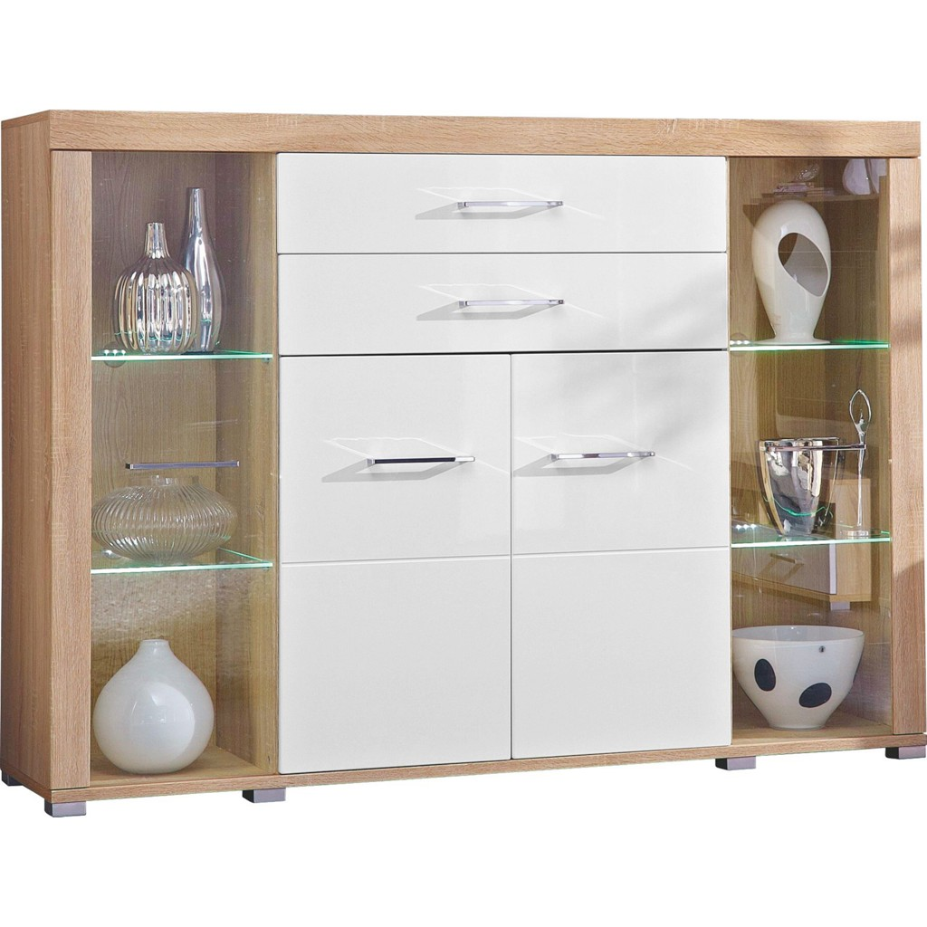 Highboard weiß eiche sonoma