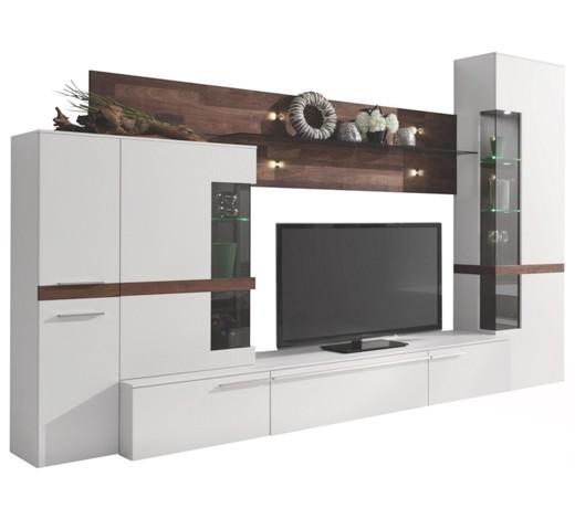 wohnwand nussbaum nussbaumfarben wei anbauw nde. Black Bedroom Furniture Sets. Home Design Ideas