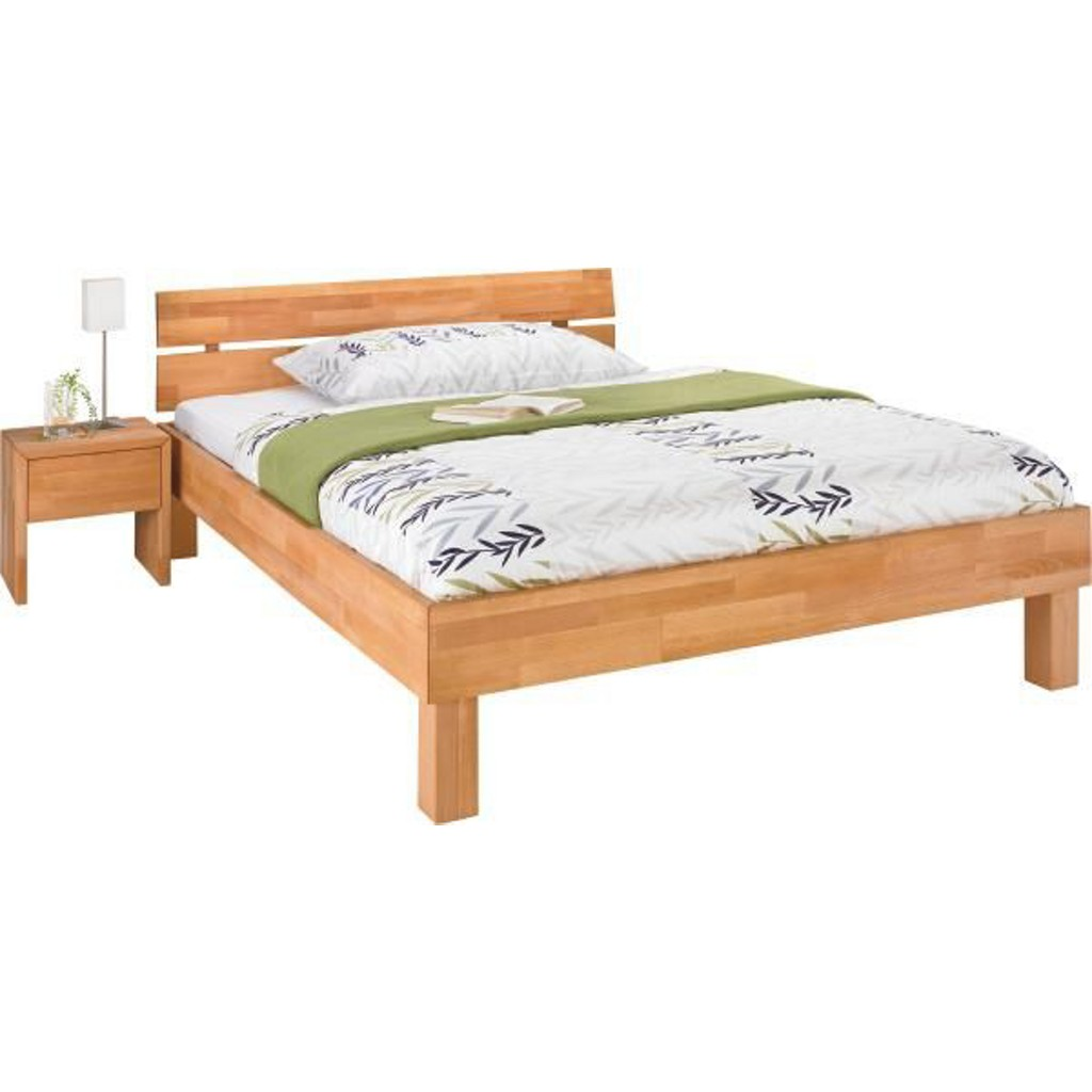 Bett 90 Cm X 200 Cm In Holz Buchefarben