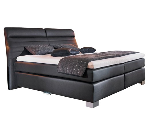 boxspringbett lederlook inkl matratze topper online. Black Bedroom Furniture Sets. Home Design Ideas