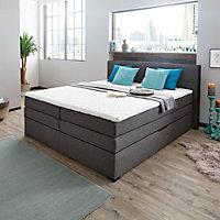 BOXSPRINGBETT 180 cm   x 200 cm   in Textil Grau, Schwarz - Wengefarben/Schwarz, Design, Holz/Holzwerkstoff (180/200cm) - NOVEL