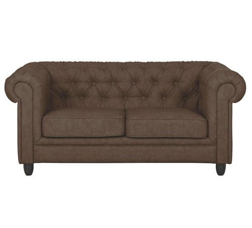 chesterfield sofa zweisitzer lederlook dunkelbraun online. Black Bedroom Furniture Sets. Home Design Ideas